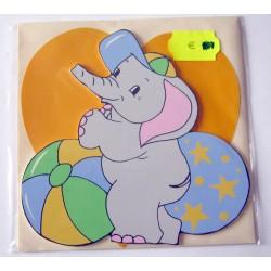 Carte avec enveloppe décor de chambre bois enfant motif éléphant (lot 17.04)