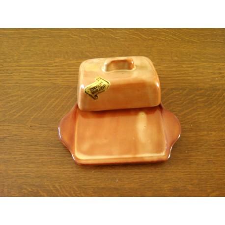 ancien beurrier ceramique marron avec couvercle tbe