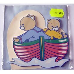 Carte avec enveloppe décor de chambre bois enfant motif ourson (lot 18.01)