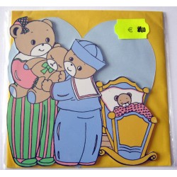 Carte avec enveloppe décor de chambre bois enfant motif ourson (lot 18.02)