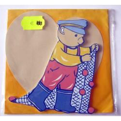Carte avec enveloppe décor de chambre bois enfant motif ourson (lot 18.03)