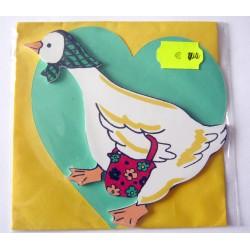 Carte avec enveloppe décor de chambre bois enfant motif oie canard (lot 19.04)