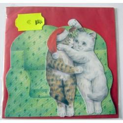 Carte postale découpée avec enveloppe enfant motif chat (lot 20.01)