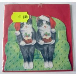 Carte postale découpée avec enveloppe enfant motif chat (lot 20.02)