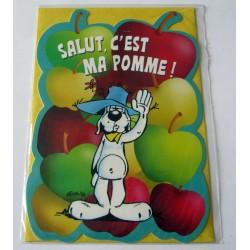 Carte postale découpée avec enveloppe fête anniversaire humour pomme gai luron neuve