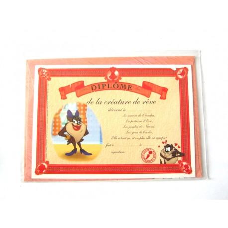 Carte postale avec enveloppe humour CARTOON félicitations Diplôme de la créature de rêve neuve