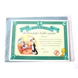 Carte postale neuve avec enveloppe fête CARTOON Diplôme du beau papa le + sympa (lot 07.02)