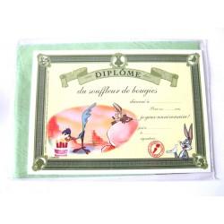 Carte postale neuve avec enveloppe fête CARTOON Diplôme du souffleur de bougies (lot 07.06)