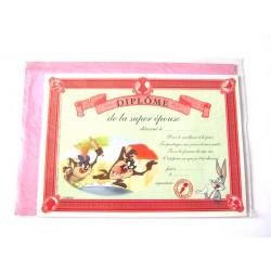 Carte postale avec enveloppe humour CARTOON félicitations Diplôme de la super épouse neuve