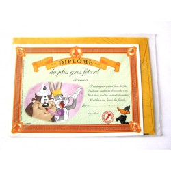 Carte postale avec enveloppe humour CARTOON félicitations Diplôme du + gros fêtard neuve