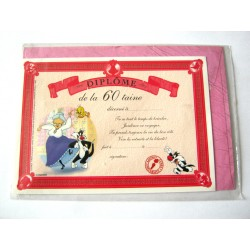 Carte postale neuve avec enveloppe fête CARTOON Diplôme de la 60 aine (lot 09.07)