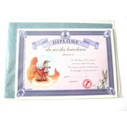 Carte postale avec enveloppe humour CARTOON félicitations Diplôme du roi des bricoleur neuve