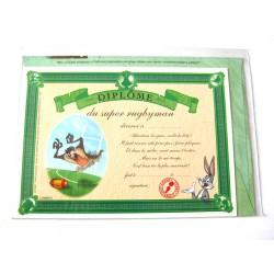 Carte postale avec enveloppe humour CARTOON félicitations Diplôme du super rugbyman neuve