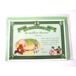 Carte postale avec enveloppe humour CARTOON félicitations Diplôme du meilleur chasseur neuve