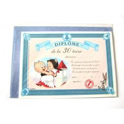 Carte postale neuve avec enveloppe fête CARTOON Diplôme de la 30 aine (lot 10.06)