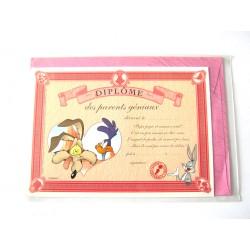 Carte postale avec enveloppe humour CARTOON félicitations Diplôme des parents géniaux neuve