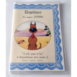 Carte postale double avec enveloppe humour LUCKY LUCK Diplôme du super copain neuve