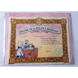Carte postale avec enveloppe humour GAI LURON signe astrologique Diplôme de la balance hésitante neuve