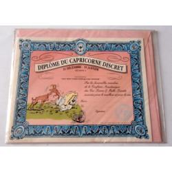Carte postale avec enveloppe humour GAI LURON Diplôme du capricorne discret neuve