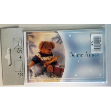 Lot de 5 Cartes postales mignonnettes + enveloppes meilleurs vœux bonne année (lot 01)