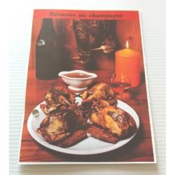 """FICHE CUISINE de ELLE vintage rétro par Madeleine Peter """"bécasses au champagne"""" collection occasion"""