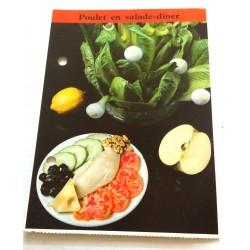 """FICHE CUISINE de ELLE vintage rétro par Madeleine Peter """"poulet en salade - diner"""""""