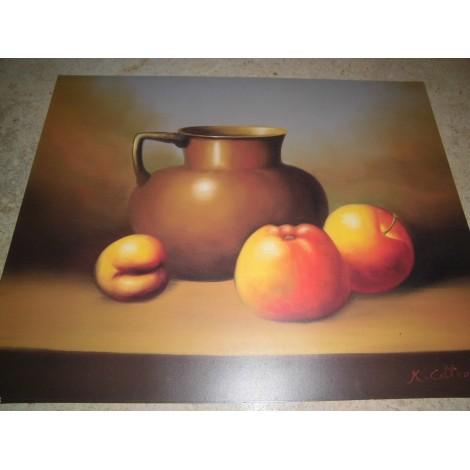 POSTER DECORATIF (35x28cm) Pichet avec pomme- K COTTON NEUF