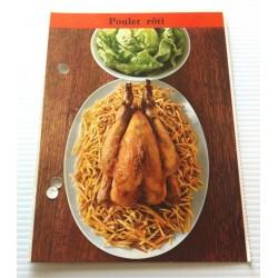 """FICHE CUISINE de ELLE vintage rétro par Madeleine Peter """"poulet roti"""""""
