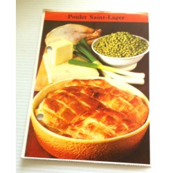 """FICHE CUISINE de ELLE vintage rétro par Madeleine Peter """"poulet saint Lager"""""""