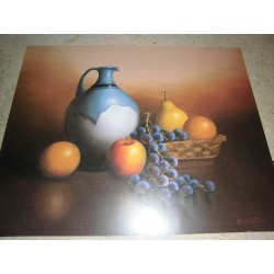 POSTER DECORATIF (35x28cm) Pichet avec fruits NEUF