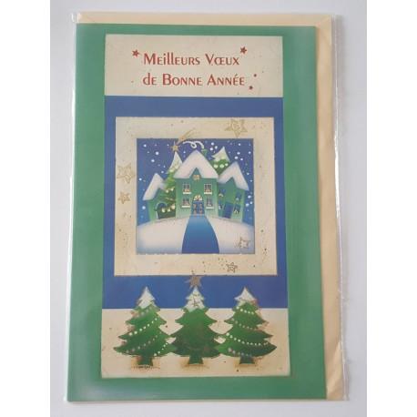 Carte postale neuve + enveloppe meilleurs voeux bonne année (lot 03.01)