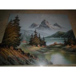 POSTER DECORATIF (35x28cm) Paysage: montagne sur lac NEUF