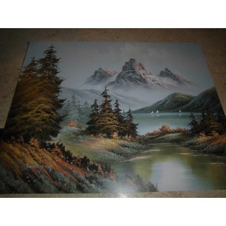 POSTER DECORATIF (35x28cm) Paysage: montagne sur lac