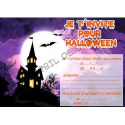 Lot de 6 cartes d'invitations pour HALLOWEEN enfant Version 1 NEUVE
