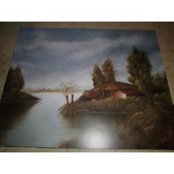 POSTER DECORATIF (35x28cm) Paysage: maison près de l'eau NEUF