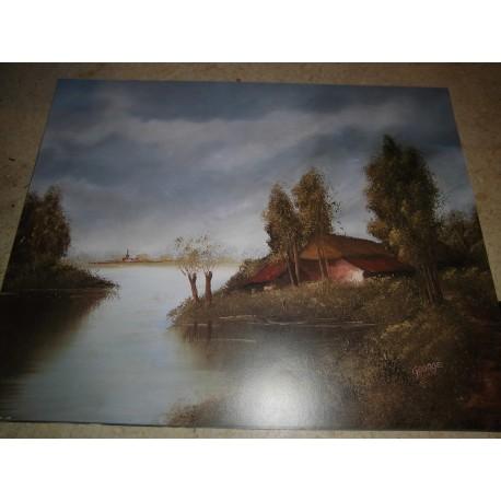 POSTER DECORATIF (35x28cm) Paysage: maison près de l'eau