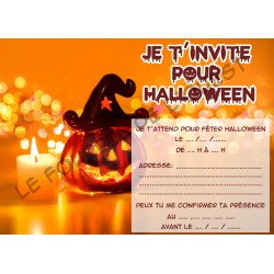 Lot de 6 cartes d'invitations pour HALLOWEEN enfant Version 2 NEUVE