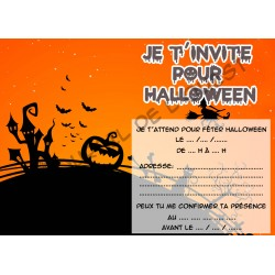 Lot de 6 cartes d'invitations pour HALLOWEEN enfant Version 3 NEUVE