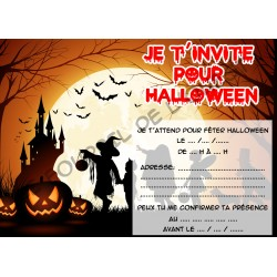 Lot de 6 cartes d'invitations pour HALLOWEEN enfant Version 4 NEUVE
