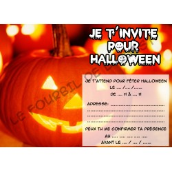 Lot de 6 cartes invitations HALLOWEEN enfant Version 6 NEUVE