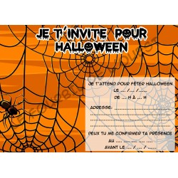 Lot de 6 cartes invitations HALLOWEEN enfant Version 9 NEUVE