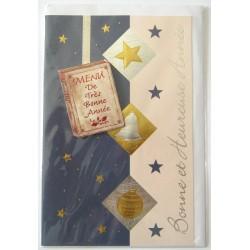 Carte postale neuve + enveloppe meilleurs voeux bonne année (38.08)