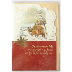 Carte postale neuve + enveloppe meilleurs voeux bonne année (42.01)