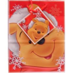 Sac moyen cadeau Winnie l'ourson flocons de neige noël fête anniversaire avec étiquette neuf