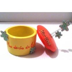 Boite à dents pour enfants décorative ma première dent de lait rose/jaune neuve