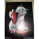 POSTER DECORATIF (35x28cm) chaton avec verre de vin