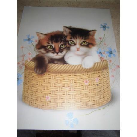 POSTER DECORATIF (35x28cm) 2 chatons dans un panier