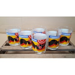 LOT DE 6 ANCIENS VERRES ORANGINA - DESSINE PAR VILLEMOT - VINTAGE COLLECTION OCCASION