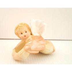 Rond de serviette petit ange crème - fêtes - Noël - Anneau serviette
