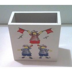 Idée cadeau déco pot a crayon chambre enfant bois style marin neuf